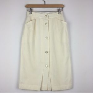 Vintage wool button front skirt ivory cream pearl
